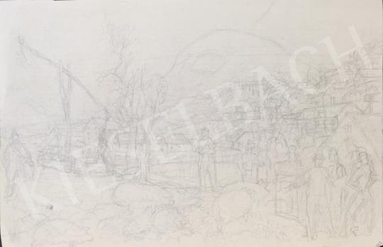 Eladó  Szabó Vladimir - Disznóvágásra készülődés festménye