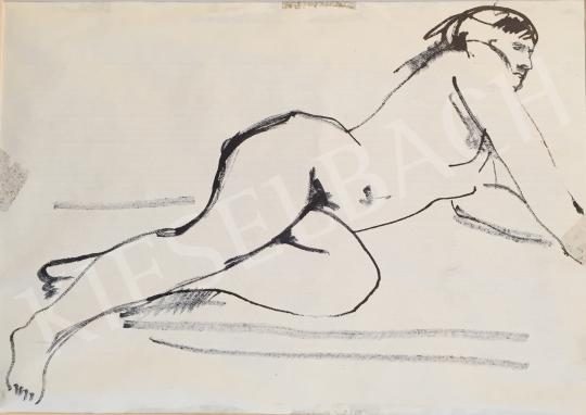 Eladó  Mizser Pál - Fekvő női akt festménye