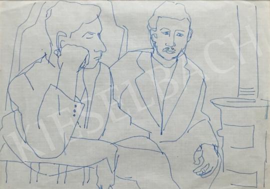 Eladó Mizser Pál - Várakozók festménye