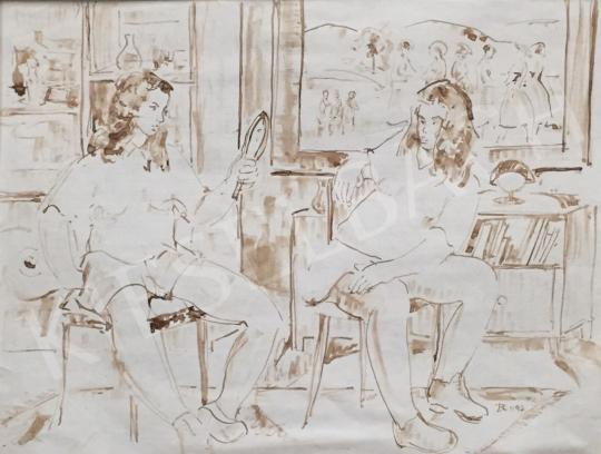 Eladó Dániel Kornél Miklós - Készülődő lányok, 1992 festménye