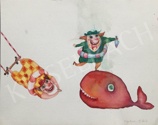 For sale  Szalma, Edit - Clowns with a Whale 's painting