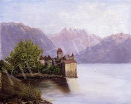 Ismeretlen festő - A sioni kastély a Genfi-tó partján