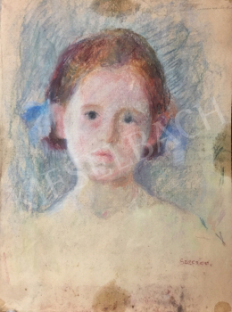 Szecsődy Klára (Claire) - Vörös hajú kislány portréja, 1950 körül
