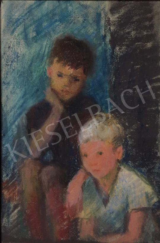 Eladó  Szecsődy Klára (Claire) - Testvérek, 1960 körül festménye