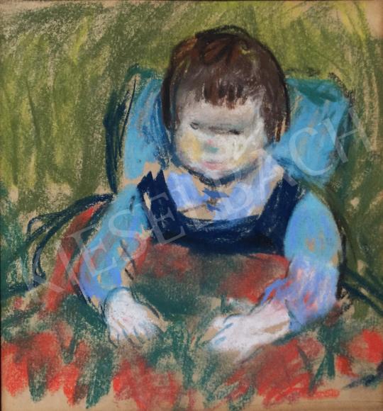 Eladó  Szecsődy Klára (Claire) - Kisgyermek kék kantáros nadrágban, 1960 körül festménye