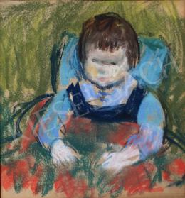 Szecsődy Klára (Claire) - Kisgyermek kék kantáros nadrágban, 1960 körül