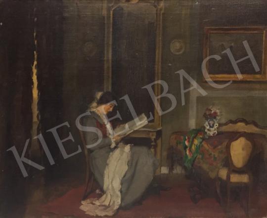 Eladó Krusnyák Károly - Olvasó hölgy enteriőrben, 1922 festménye