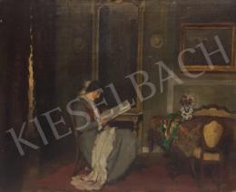 Krusnyák Károly - Olvasó hölgy enteriőrben, 1922