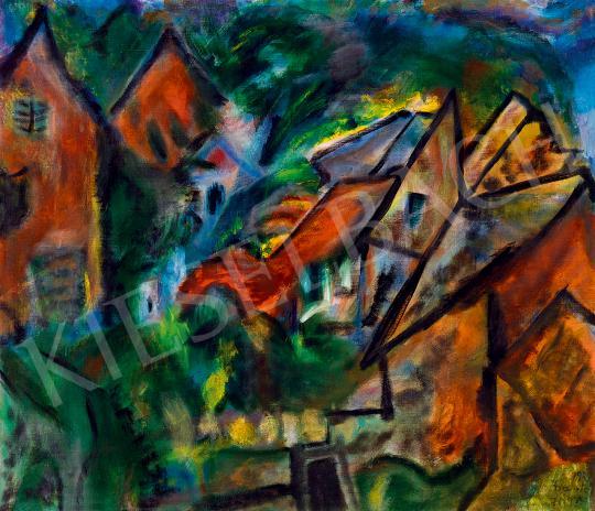 Frank Frigyes - Házak festménye