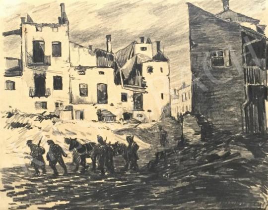 Eladó  Márton Ferenc - Városon átvonuló katonák, 1917 festménye