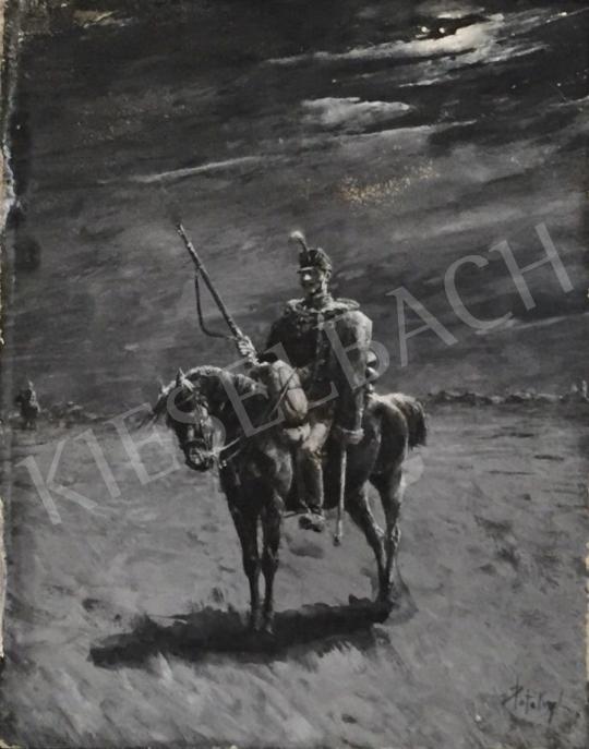 Eladó Pataky László - Felderítő huszár a holdvilágnál festménye