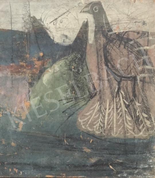 Eladó  Ismeretlen festő, 1970 körül - Macska és madár festménye