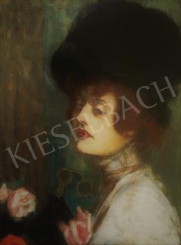Rippl-Rónai József - Fekete kalapos hölgy (Kunffyné portréja), 1907 körül