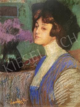 Kunffy Lajos - Nő fehér blúzban (Kunffyné portréja), 1907 körül