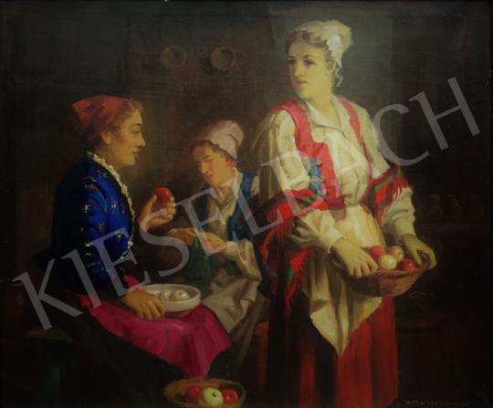 Krusnyák Károly - Lányok a konyhában festménye