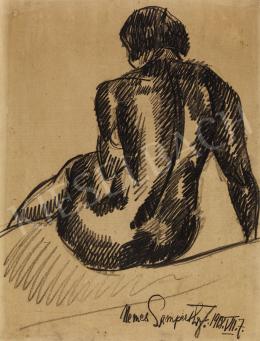 Nemes Lampérth József - Ülő női hátakt, 1918
