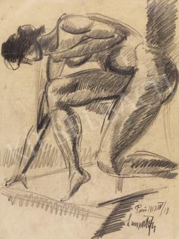 Nemes Lampérth József - Féltérdre ereszkedő akt, 1913