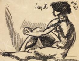 Nemes Lampérth József - Ülő akt, 1913
