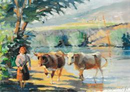 Kieselbach Géza - Pásztorlányka a Hernádon, 1960 körül