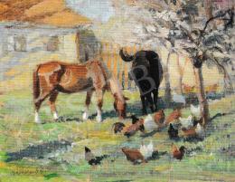 Kieselbach Géza - Az udvaron, 1937
