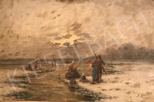 Eladó F. Münsterfeld, 19. század vége - Halászat festménye