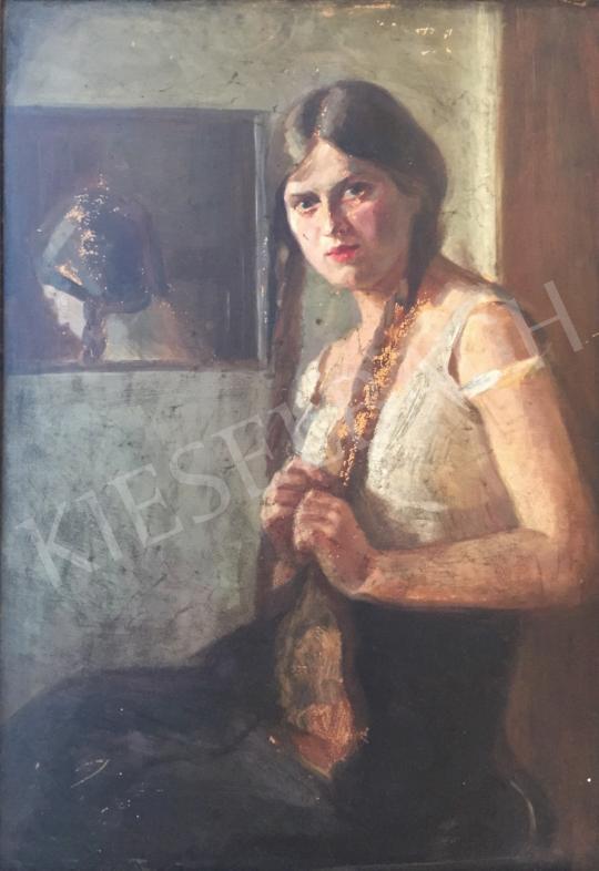 Eladó Ismeretlen festő - Fonott hajú kislány festménye
