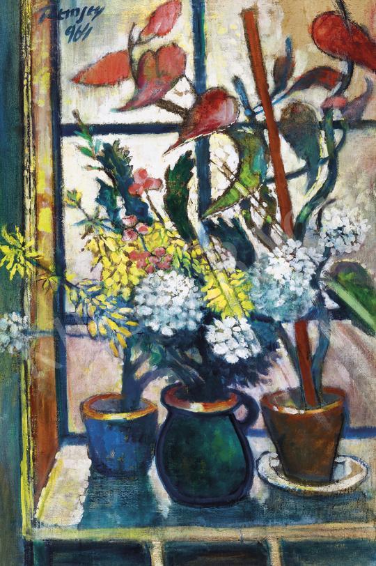 Remsey Jenő György - Virágcsendélet műteremben, 1964 festménye