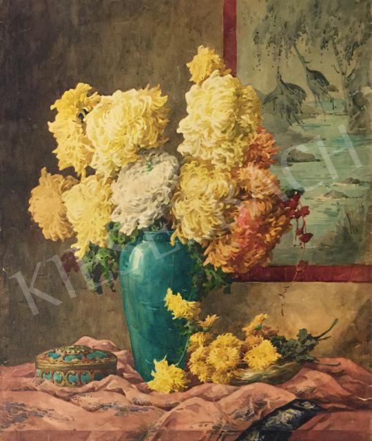 Komáromi-Kacz, Endréné (Kiss, Sarolta) - Flower Still-Life with Bonbonist painting