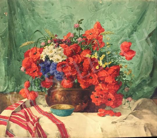 Eladó  Komáromi-Kacz Endréné (Kiss, Sarolta) - Virágcsendélet pipacsokkal festménye