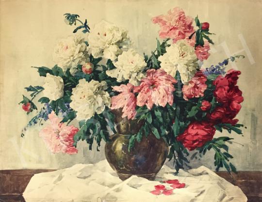 Eladó  Komáromi-Kacz Endréné (Kiss, Sarolta) - Virágcsendélet bazsarózsákkal festménye