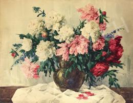 Komáromi-Kacz, Endréné (Kiss, Sarolta) - Flower Still-Life with Peonies