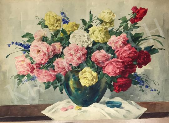 Komáromi-Kacz Endréné (Kiss, Sarolta) - Csendélet rózsákkal és szarkalábbal festménye