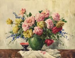 Komáromi-Kacz, Endréné (Kiss, Sarolta) - Flower Still-Life in a Green Frame