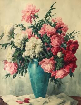 Komáromi-Kacz, Endréné (Kiss, Sarolta) - Peony Roses in a Turquoise Vase