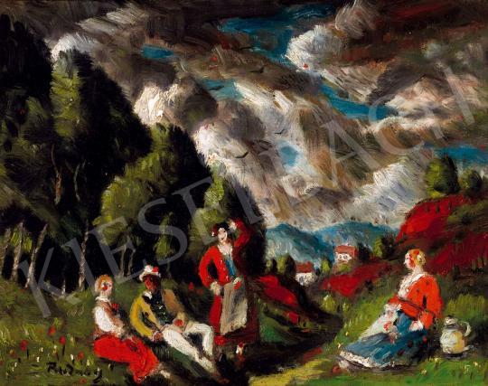 Rudnay Gyula - Szabadban festménye