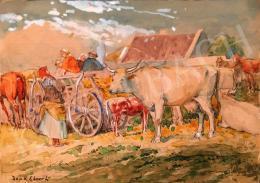 Deák-Ébner Lajos - Falusi jelenet