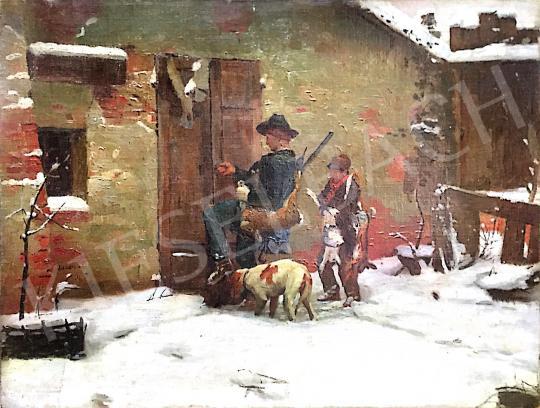 Eladó Ismeretlen osztrák művész - Téli táj két alakkal festménye