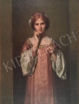 Stein János Gábor - Igéző tekintet (Fiatal vöröshajú lány aranyszegélyű ruhában)