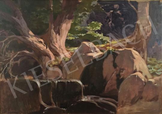 Stein János Gábor - Erdei forrás napsütötte fákkal festménye