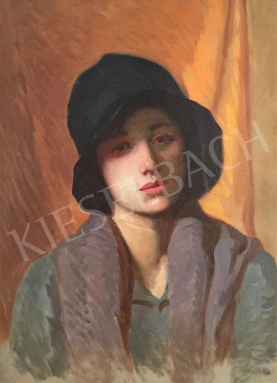 Stein János Gábor - Álmodozó fiatal lány art deco kalapban festménye