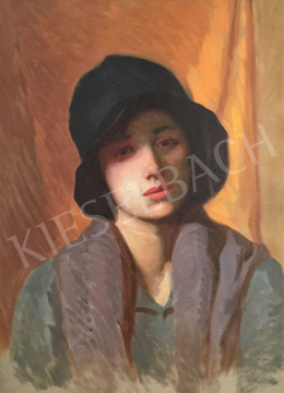 Stein, János Gábor - Female portrait in Art Deco Hat