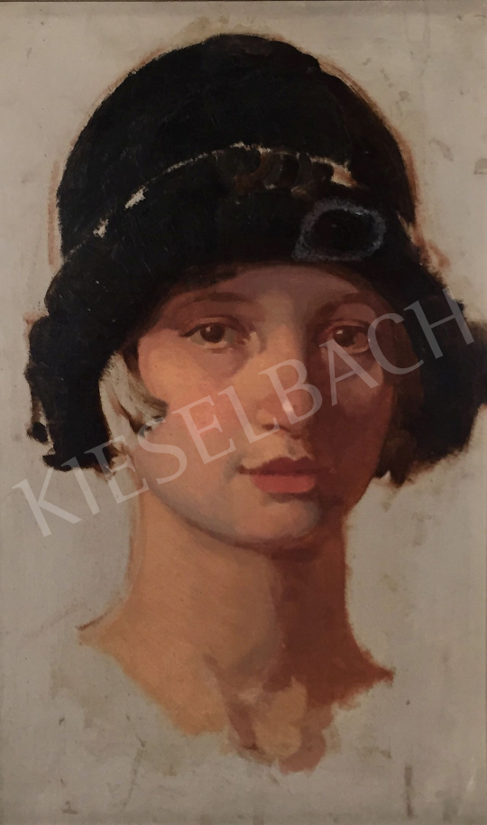 Stein János Gábor - Fiatal lány art deco kalapban festménye