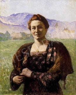 Thorma János - Hölgy nagybányai tájban