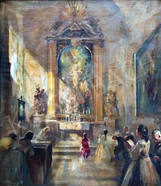 Eladó Péczely Antal - Templomban festménye