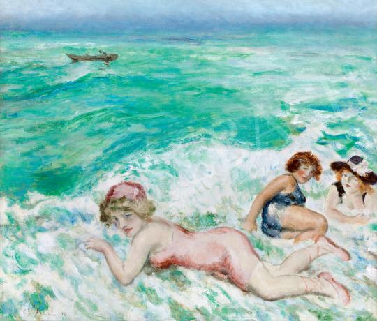 Csók István - Tajtékos hullámok között a Lidón festménye