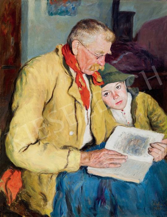 Glatz, Oszkár - Grandfather Reading (Reading Fairy Tale) painting