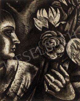 Uitz Béla - Nő rózsákkal