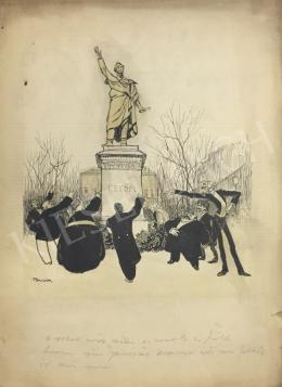 Polgár Márton - Petőfi szobor előtt