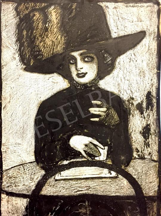 Unknown Hungarian painter, about 1910 - Chic Girl with Hat painting