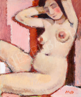 Mohy, Sándor (Mohi Sándor) - Nude (Model with a Striped Drapery)